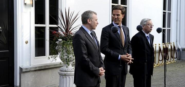 premier mark rutte ontvangt op het catshuis de premiers leterme en juncker