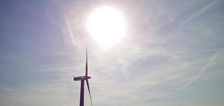 Wind turbine and sun.
