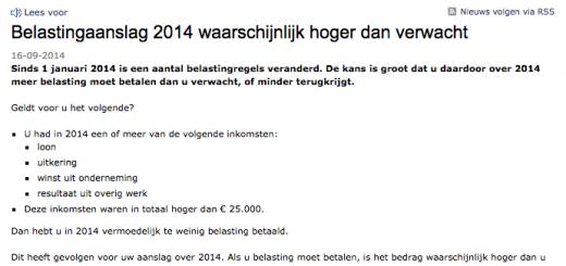 belasting 2014 hoger