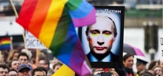 Demonstratie tegen anti-homowet Poetin