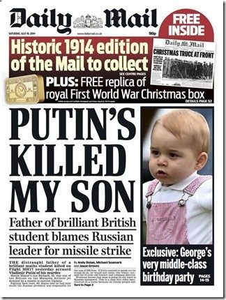Daily Mail - 19-07-2014 - Voorpagina MH17 - Poetin
