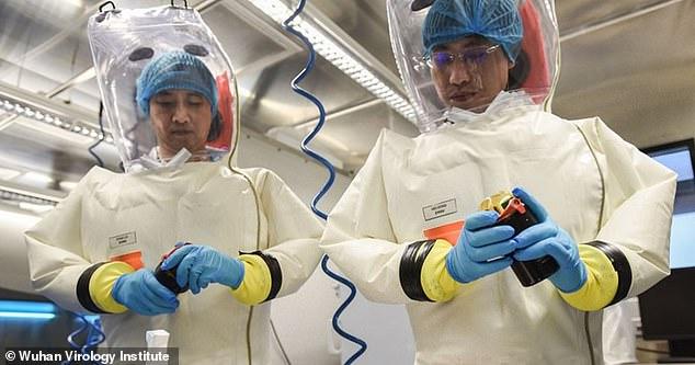 Wetenschappers van het Wuhan Virology Institute dragen hoogwaardige hazmat-pakken. Op het terrein van het instituut is het Wuhan Bioveiligheidslaboratorium, dat is aangewezen om de meest gevaarlijke pathogenen te bestuderen, waaronder virussen zoals Ebola en SARS