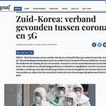 DeTelegraaf: Zuid-Korea heeft verband gevonden tussen Corona en 5G
