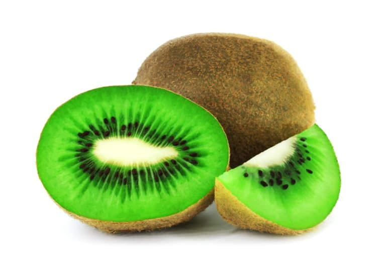sliced green and brown fruit